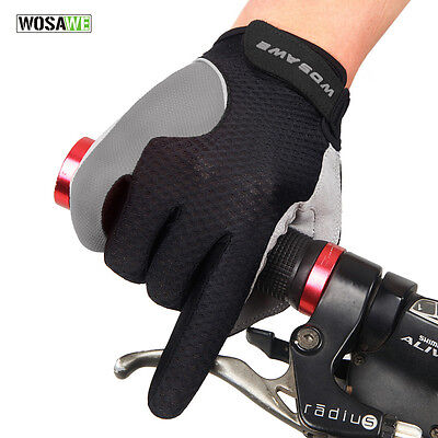 Mens Summer Black Full Finger Gloves Fashion Cycling Padded Sports Breathable