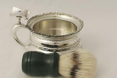 Victorian Art Nouveau Adelphi Silver Co Quadruple Plate Shaving Mug And Brush