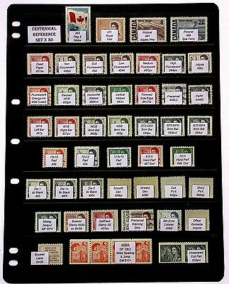 Centennial Reference Set of 50 Stamps ~ Fluorescence Tagging Gum Types Perfs etc