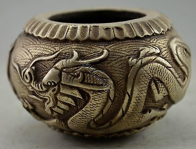 Collectible Decorated Silver Plate Copper Carved Dragon Phoenix Pot
