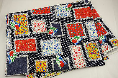 "Vintage Patchwork Blocks Cheater Quilt Calico Fabric 3 Yards 45"" W Cotton Cute!"