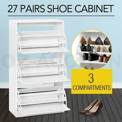 Wooden Shoe Cabinet Large Stoarge Organiser Rack Shelf Chest Max.27 Pairs White