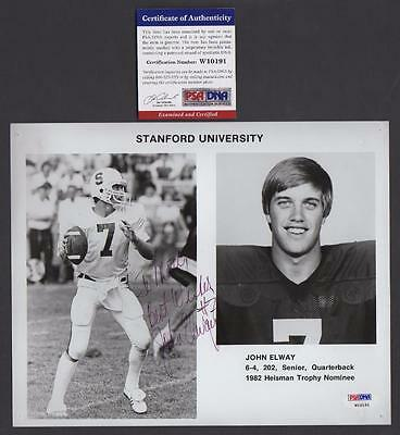 John Elway Stanford Press Photo PSA/DNA COA authentic Signature Autograph