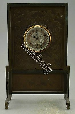 Collectible Decorated Copper Carved Flower Screen Alarm Clock