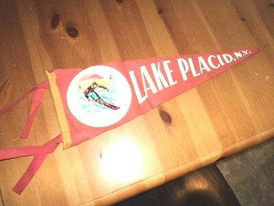 Vintage 1950s Lake Placid NY Ski Skiing Travel Pennant