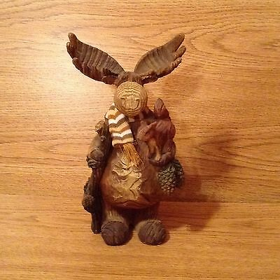 Resin Moose With Squirrel Looks Like Carved Wood