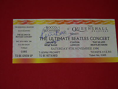 """PETE BEST.......""""The Beatles""""..... HAND SIGNED AUTOGRAPH ON TICKET...1996"""