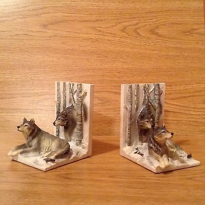 Pair Of Nice Heavy Resin Wolf Book Ends