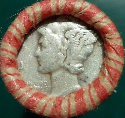 Estate Mixed Wheat Indian Cent Roll with Mercury Dime & Indian Head ends lot ao