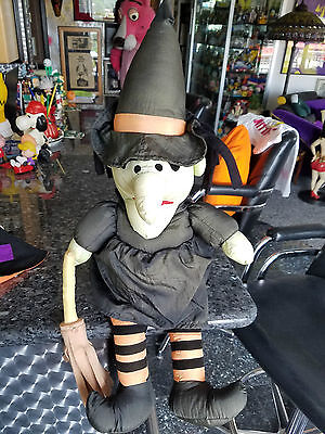 "Halloween Witch 24"" Plush Stuffed Soft Toy Broom Green Tint Orange Undergarments"