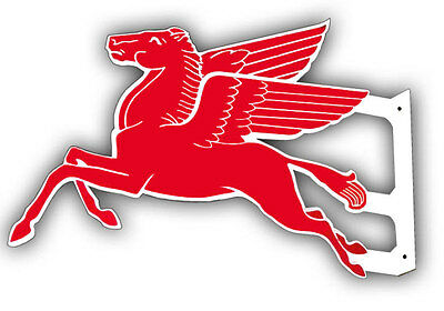 """Double Sided Pegasus 24"""" Motor Oil And Gas Flange Metal Sign"""