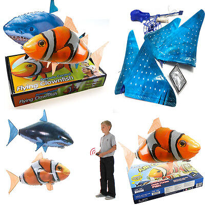 Air Swim Remote Control RC Flying Inflatable Fish Shark Blimp Balloon Kids Toys
