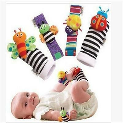 4pcs Baby Foot Wrist Rattle Socks Bracelet Set Sensory Toy Rattle Set - CB