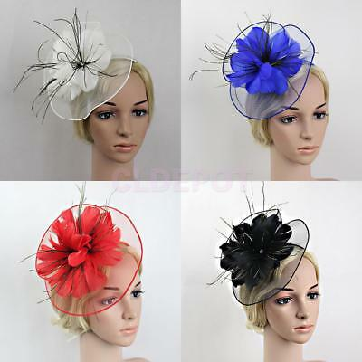 Flower Feather Fascinator Net Large Headband Wedding Race Royal Ascot Church Hat