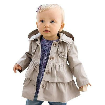 Toddler Baby Girls Autumn Trench Coat Wind Jacket Hooded Outwear Clothes 0-5Y