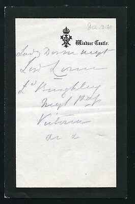 Queen Victoria Hand Written Note Vri Mourning Paper Windsor Castle 1889