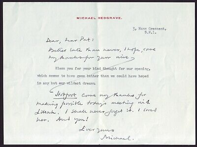 British Actor Michael Redgrave Signed Letter
