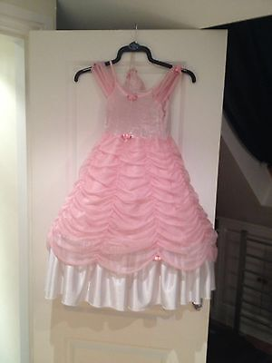 Girls Pink Princess Dress With Gloves Age 5 - 6 Years Hardly Worn