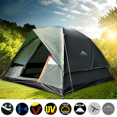 Waterproof 3-4 Person Family Camping Tent Green Double layer Hiking Tent 4Season