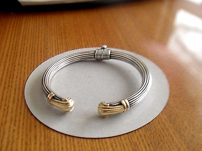 Cable Bangle 14K /585 Gold Finial / Sterling Silver 925  Cuff Bracelet 23.10g