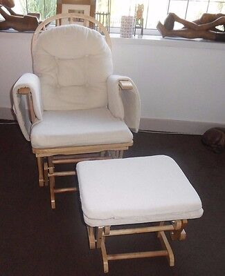 Baby Rocking/Gliding Nursing Chair and Footstool cream reclines