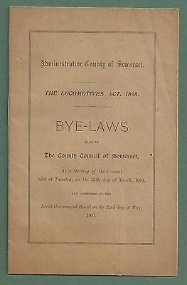 1901 Booklet - Byelaws Relating To Locomotives In County Of Somerset