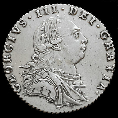 1787 George III Early Milled Silver Sixpence, Hearts, Near EF