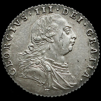 1787 George III Early Milled Silver Sixpence, Hearts, EF