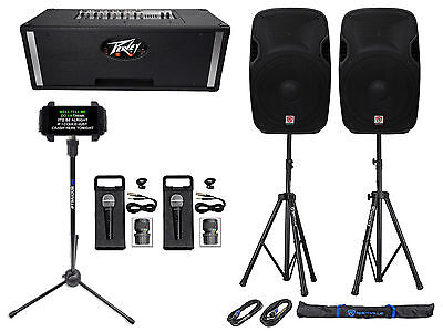"""Professional Karaoke System w/(2) 15""""  Speakers+Peavey Powered Mixer+Stands+Mics"""