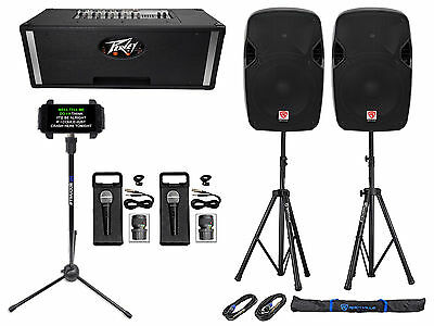 "Professional Karaoke System w/(2) 12""  Speakers+Peavey Powered Mixer+Stands+Mics"