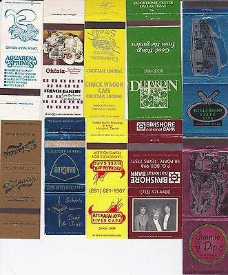 Lot Of 18 Different Texas Matchbook Covers.  #1