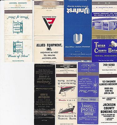 Lot Of 17 Different Mississippi Matchbook Covers.  #1