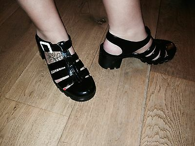 Brand New Juju Jelly Black Shoes With Heels Beach Holiday Size 7 41
