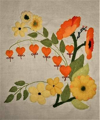 Wild Flower Floral Linen Pillow Top Vintage Finished Completed Crewel Embroidery