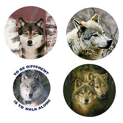 Wolf Magnets-A:  4 Way-Cool Wolves for your Fridge or Collection-A Great Gift