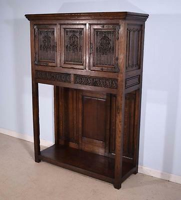 *French Antique Gothic Revival Cabinet/Console/Sideboard, Highly Carved in Oak