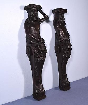 "*30"" Pair of French Antique Oak Figures/Support Pillars Architectural Salvage"