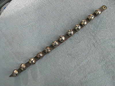 "Door Hanging Leather Strap with 12 Silver Bells  - 27"" Long"
