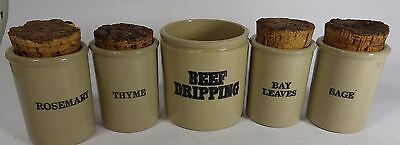 Vintage Pearsons Stoneware Kitchen Set - Beef Dripping & Spice Jars x 4