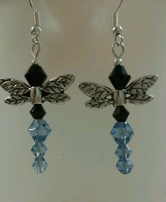 """Dragonfly Earrings Blue 1"""" Hook Closure Unique"""