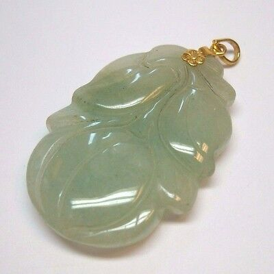 Antique Carved Oriental Green Jade Estate Pendant W/ 14K Flower Bale