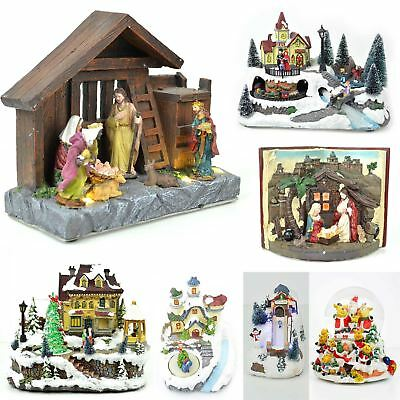 Christmas Musical And Light Up Sculpture Nativity Set Xmas Home Decorations