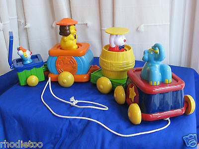Chicco Activity Pull Along Circus Train Pop Up Stacking Safari Animals Toy