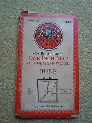 OS Ordnance Survey New Popular Edition One inch Map BUDE Sheet 174 1st Publ 1946