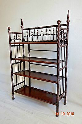 Victorian stick and ball carved bookcase shelf etegere
