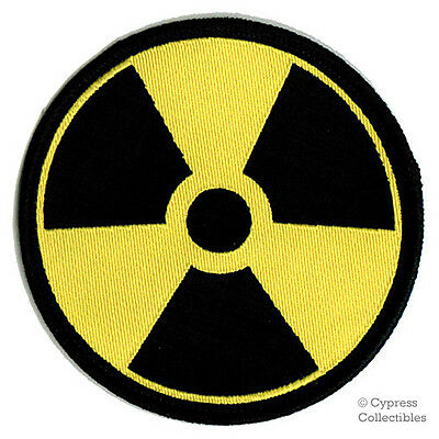 NUCLEAR RADIATION SYMBOL new EMBROIDERED IRON-ON PATCH WARNING ZOMBIE DANGER