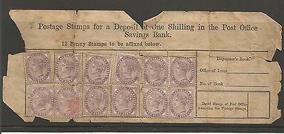 GB  1881 (?) QV Post Office Savings Bank Shilling Deposit Penny Lilac Stamp x 12