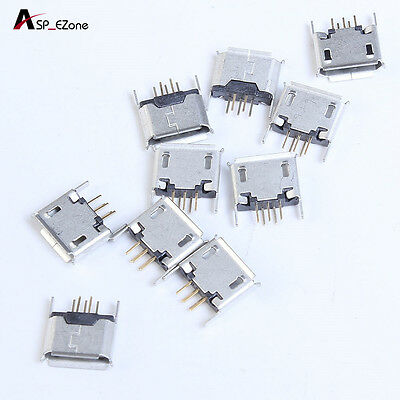 10pcs Micro USB Female Socket 180 Degree DIP 5P For Connector Parts