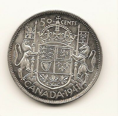 Canada 1941 50 Cents Half Dollar King George Vi Canadian .800 Silver Coin