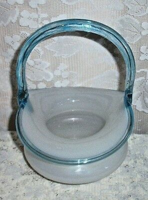 Vintage Czechoslovakian Decorative White Glass Basket With Blue Handle